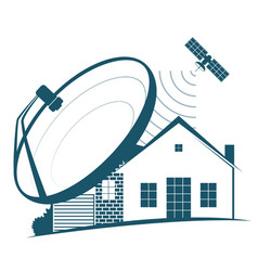 Satellite dish on house vector