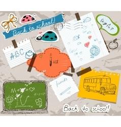 Scrapbooking set with school elements vector