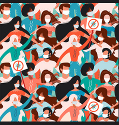 seamless pattern with male and female people vector image