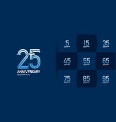 Set anniversary logo style with blue premium vector