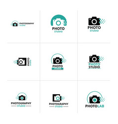 set of 9 black and green icon for photographer vector image
