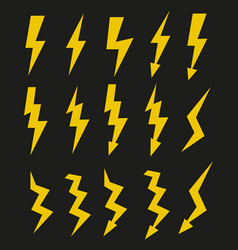 Set of icons representing yellow lightning bolt vector