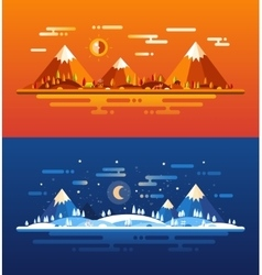 Set of modern flat design conceptual landscapes vector image