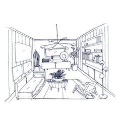 Sketch of stylish living room full of furnishings vector