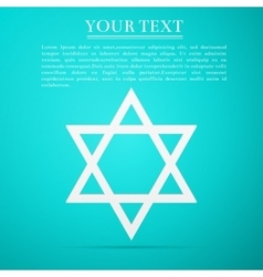 Star of David flat icon on blue background vector