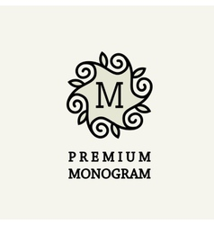 Stylish and graceful floral monogram design vector image