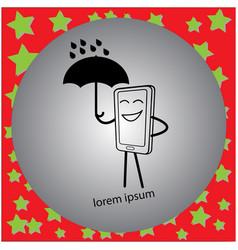 Telephone holding an umbrella vector
