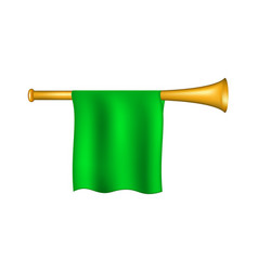 trumpet with green flag vector image