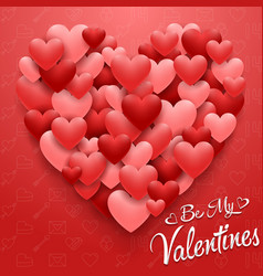 valentines hearts card on red background vector image