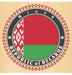 Vintage label cards of Belarus flag vector