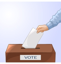 Voting concept - hand putting paper in the ballot vector