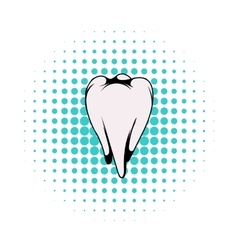 White tooth icon comics style vector