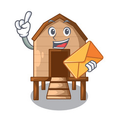 With envelope chiken coop isolated on a mascot vector