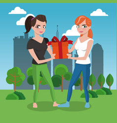 Woman giving a gift box to friend vector