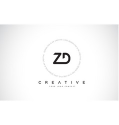 Zd z d logo design with black and white creative vector