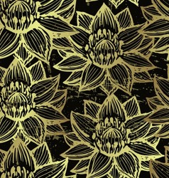 Golden lotus seamless pattern vector image vector image