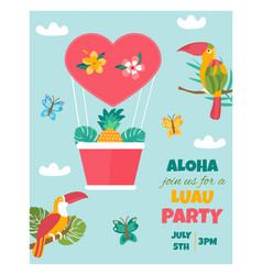 invitation card with tropical elements birds vector image vector image