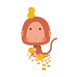 Lucky Monkey on White Background vector image vector image