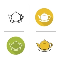 Tea pot flat design linear and color icons set vector image vector image
