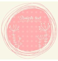 Cute sketch flower retro postcard vector
