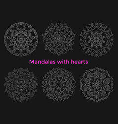 set mandalas with hearts collection symmetric vector image vector image