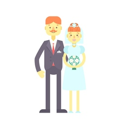 Wedding couple flat characters groom and bride vector image