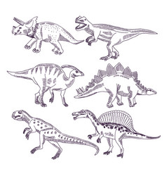 wild life with dinosaurs hand drawn vector image