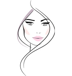 Beautiful girl with wavy hair and pink lips vector image