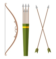 Bow and arrow icon in cartoon style isolated on vector image