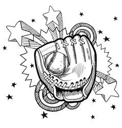 doodle pop baseball glove vector image vector image