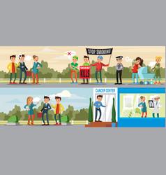 harmful habit horizontal banners vector image vector image