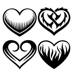 heart tattoos set vector image vector image