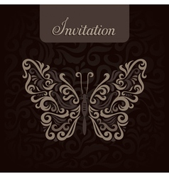Invitation with abstract butterfly vector image
