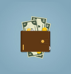 leather brown wallet vector image