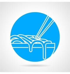 Noodles bowl blue round icon vector image