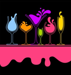 silhouette of splash wine glass vector image