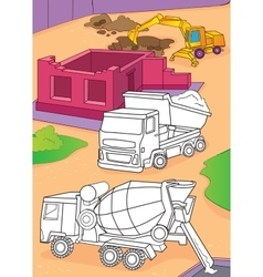 Coloring Book Of Cement Mixer Truck And Excavator vector image vector image