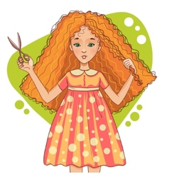 Cute cartoon red-haired girl cuts her hair with vector image vector image
