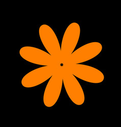 flower sign orange icon on black vector image