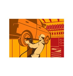 Mechanic Automotive Repairman Retro vector image vector image