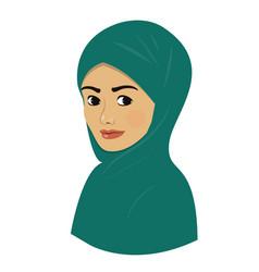 oriental beautiful arab girl in bright green vector image