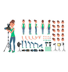 photographer woman taking pictures vector image vector image