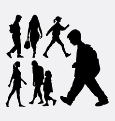 Walking people silhouette vector image vector image