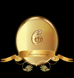 6th golden anniversary birthday seal icon vector image