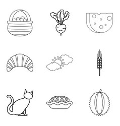 Ancestral homeland icons set outline style vector
