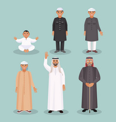 arabic men generations from kid to old person vector image