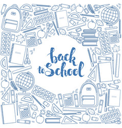 Back to school circle shape template vector