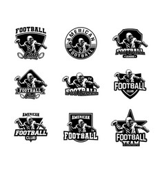 badge american football set black and white color vector image