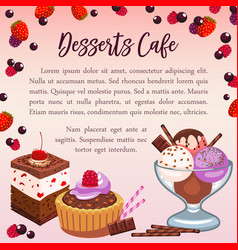 bakery desserts poster for cafe vector image
