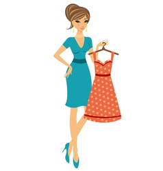 Beautiful woman shopping for dress vector image